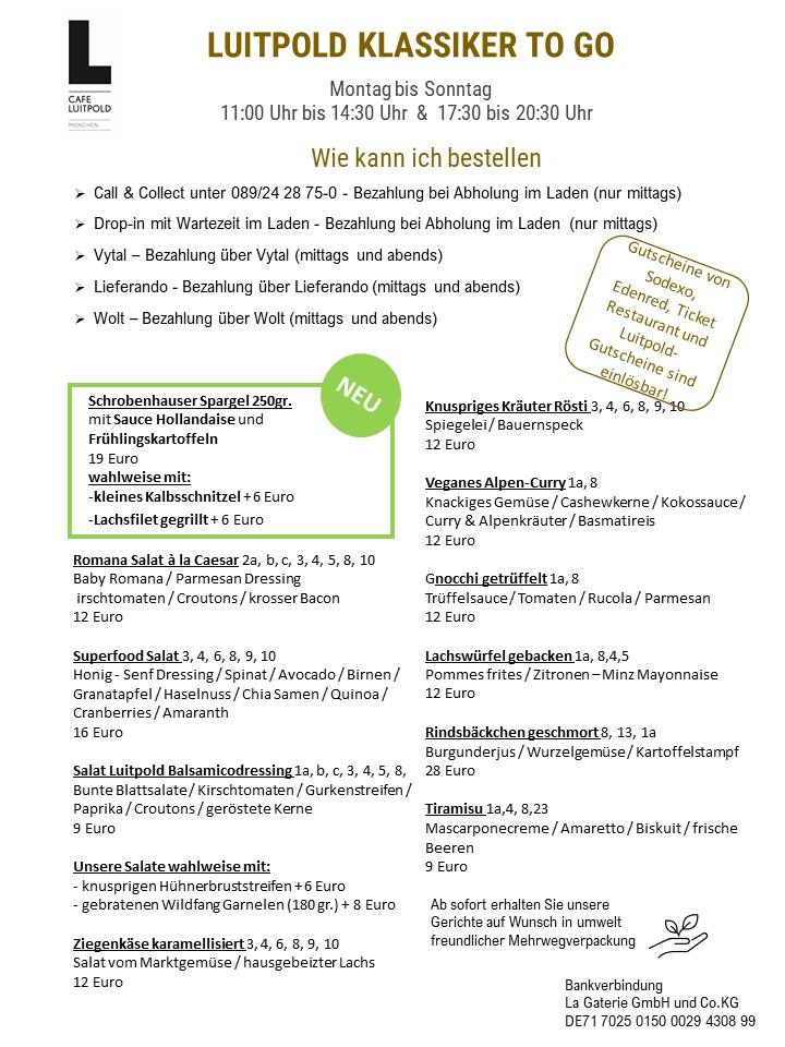 Speisekarte Cafe Luitpold